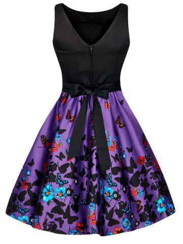 Affordable Floral Butterfly Print Bowknot Vintage Dress - S COLORMIX Mobile