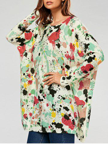 Pullover Splatter Paint Ribbed Drop Shoulder Sweater - Green - One Size