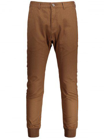 Casual Zip Fly Jogger Pants Brun 38