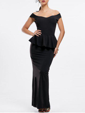 Unique Sexy Boat Neck Black Peplum Dress For Women BLACK M
