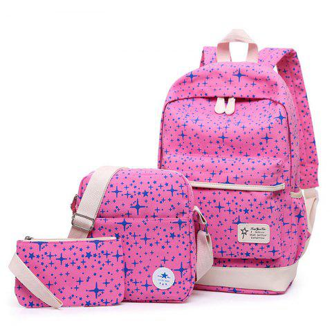 Cheap Star Print 3 Pieces Canvas Backpack Set - PINK  Mobile