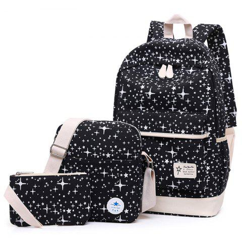 Unique Star Print 3 Pieces Canvas Backpack Set