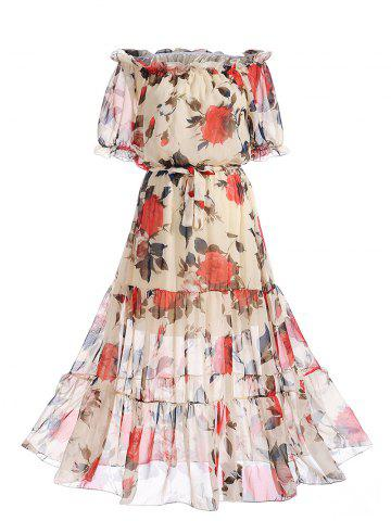 Off The Shoulder Chiffon Floral Print Dress