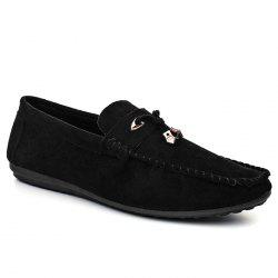 Pebbled Faux SuedeTie Moccasins - BLACK