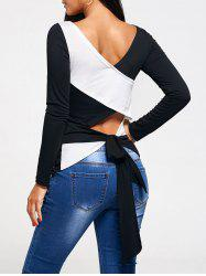 Cross Lace Up Back Long Sleeve T-shirt - BLACK + WHITE S