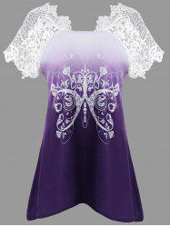 Butterfly Print Lace Insert Asymmetrical T-shirt - PURPLE