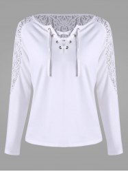 Long Sleeve Lace Insert T-shirt - WHITE