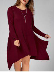Long Sleeve Plus Size Asymmetric Tee Dress with Pockets