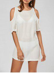 Chiffon Cold Shoulder Mini Shift Dress - WHITE