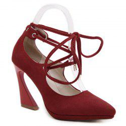 Lace Up Suede High Heel Pumps - RED 39