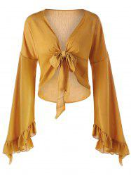 Plunge Ruffled Bowknot Bell Sleeve Blouse -