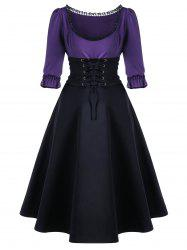Corset Waist Lace Up Midi Skater Party Dress - BLACK AND PURPLE