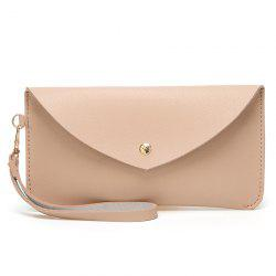 Faux Leather Wristlet Clutch Bag - Rose Abricot
