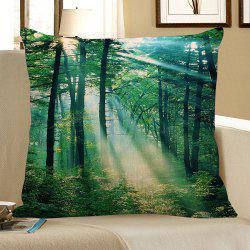 Sunshine Trees Pattern Square Pillowcase - GREEN