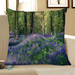 Lavender Forest Printed Square Pillow Case - GREEN