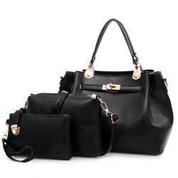 Faux Leather 3 Pieces Tote Bag Set - Noir