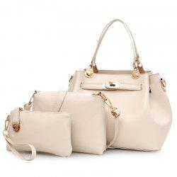 Faux Leather 3 Pieces Tote Bag Set - OFF-WHITE