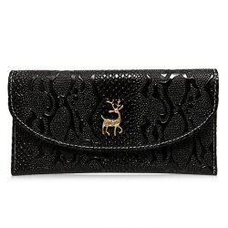 Faux Leather Embossed Clutch Wallet - BLACK