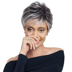 Short Side Bang Layered Shaggy Straight Colormix Synthetic Wig - BLACK AND GREY