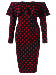 Overlay Polka Dot Off The Shoulder Pencil Dress - Rouge Et Noir
