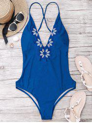 Emrboidered Deep V Neck One Piece Swimwear