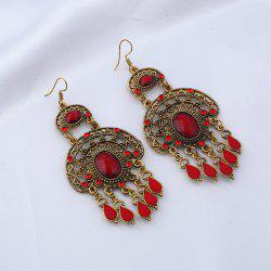 Faux Gem Teardrop Oval Chandelier Boucles d'oreilles - Rouge