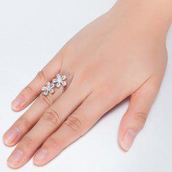 Rhinestone Double Floral Ring - SILVER 6