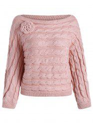 Slash Neck Cable Knit Jumper Sweater -