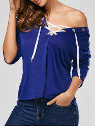 Hooded Front Lace Up T-shirt