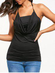 Cowl Halter Neck Open Back Tank Top -