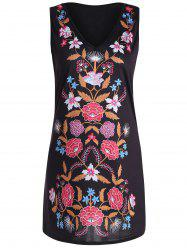 Mini V Neck Print Sleeveless Dress - BLACK
