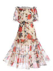 Off The Shoulder Chiffon Floral Print Dress - Floral L