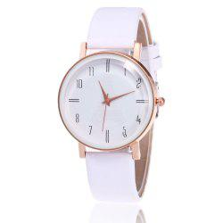 Minimalist Faux Leather Strap Number Watch - WHITE
