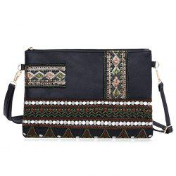 Faux Leather Floral Broderie Crossbody Bag -