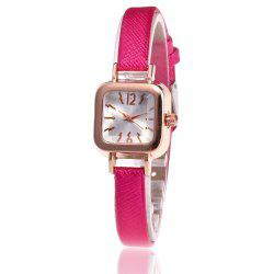 Faux Leather Strap Square Shape Watch -