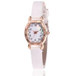 Faux Leather Band Number Watch - WHITE