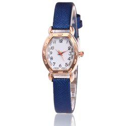 Faux Leather Band Number Watch