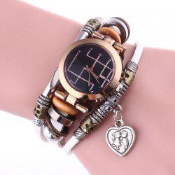Lover Heart Layered Charm Bracelet Watch - Blanc