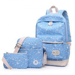 Star Print 3 Pieces Canvas Backpack Set - AZURE