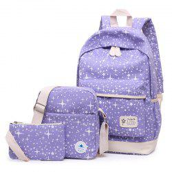 Star Print 3 Pieces Canvas Backpack Set - PURPLE