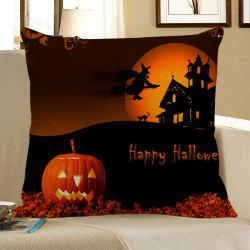 Halloween Pumpkin Sorcerer Printed Pillowcase - BLACK AND ORANGE W18 INCH * L18 INCH