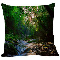 Mountain Stream Pattern Pillowcase - GREEN