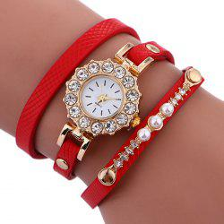 Rhinestone Sun Shape Wrap Bracelet Watch -