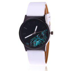 Faux Leather Strap Flower Plants Face Watch - Blanc