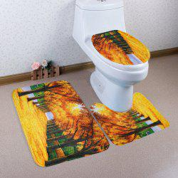 3Pcs Autumn Grove Lid Toilet Cover and Floor Mats Set