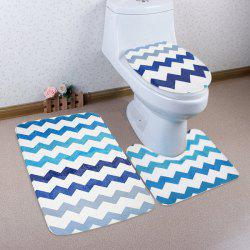 3Pcs Non Slip Chevron Pattern Tapis de toilette Set - Multicolore