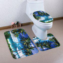 Seaside Palm Tree Coral Fleece 3Pcs/Set Toilet Rugs - COLORMIX