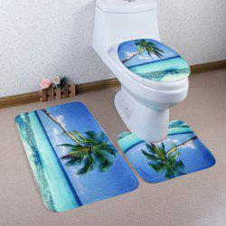 Soft Absorbent Sea Landscape 3Pcs Toilet Mats Set - BLUE
