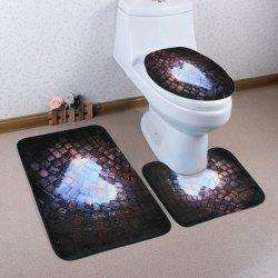 Brick Heart Pattern Coral Fleece 3Pcs Toilet Mats Set - DARK COFFEE