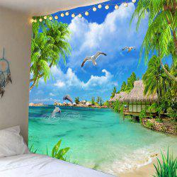 Beach Cottage Seascape Waterproof Tapestry